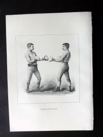 Badminton Library 1889 Boxing Print. On Guard